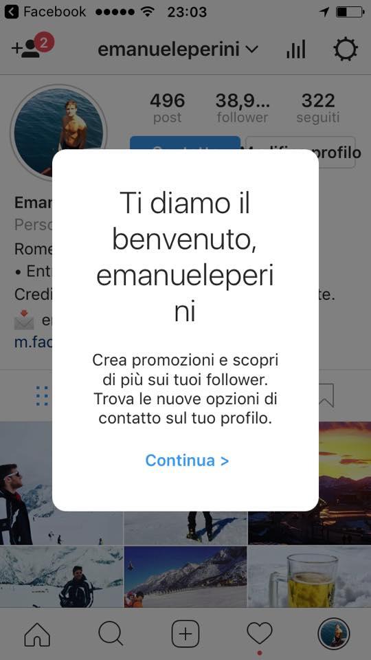 passare ad un profilo aziendale su Instagram