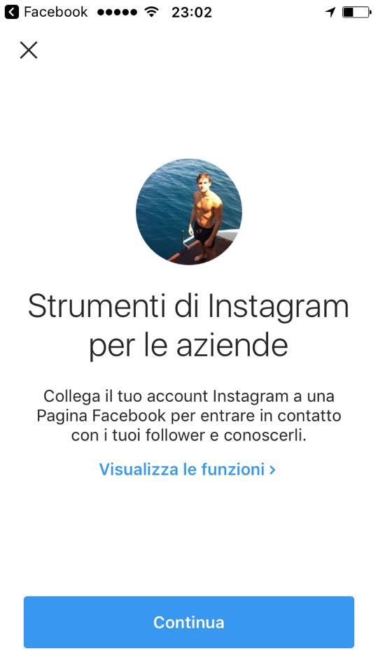 come passare ad un account aziendale su Instagram
