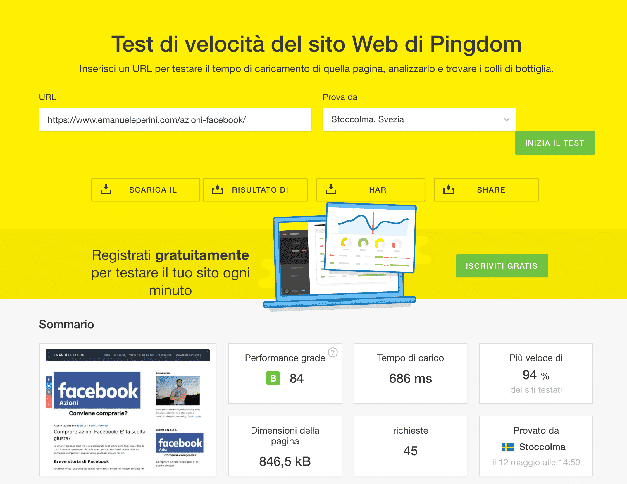 velocità sito web