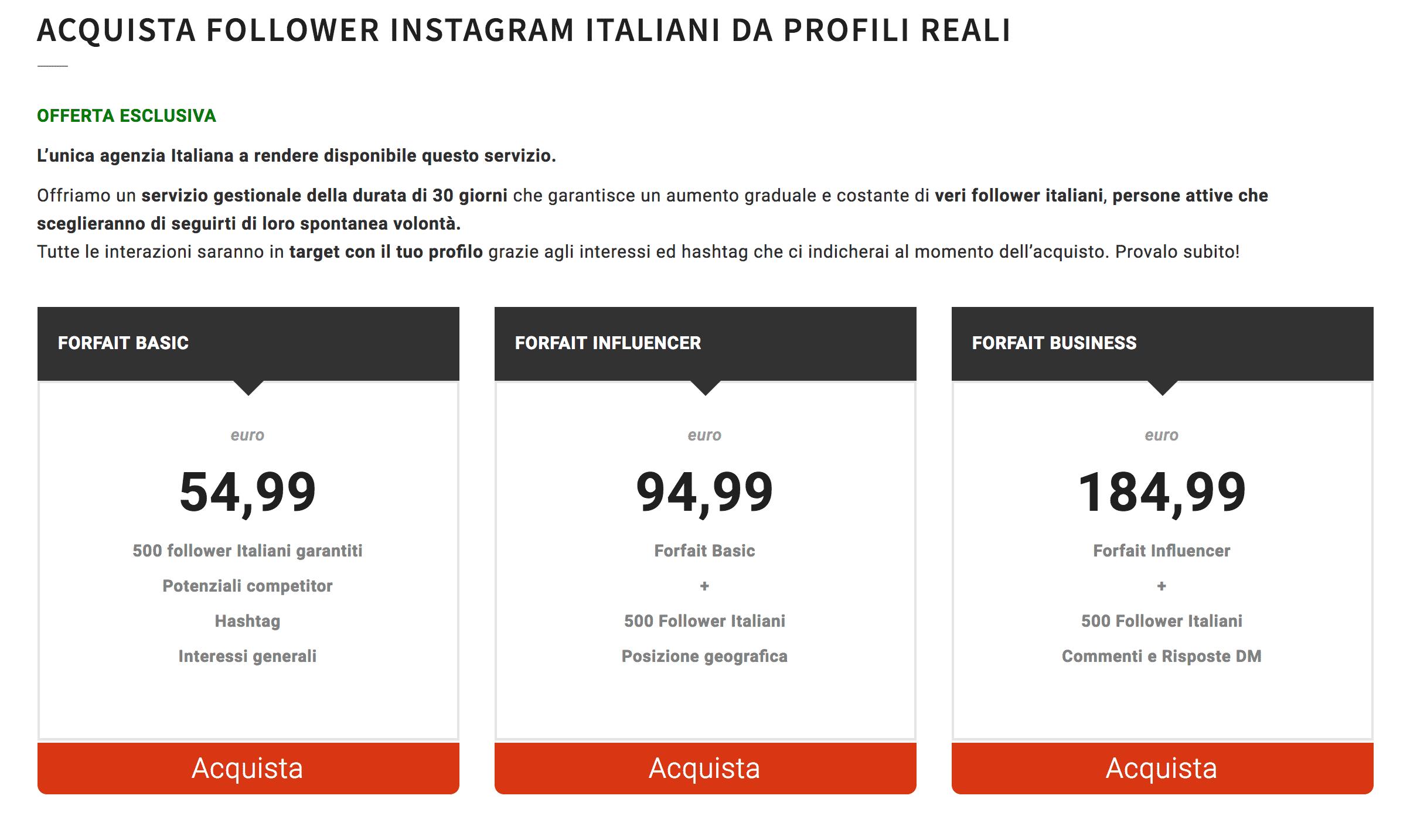 comprare follower italiani
